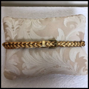 J. Crew Gold Metallic Leather Braided Belt